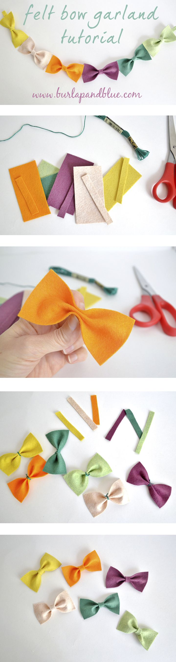 how to make felt bows...and turn them into a cute garland!