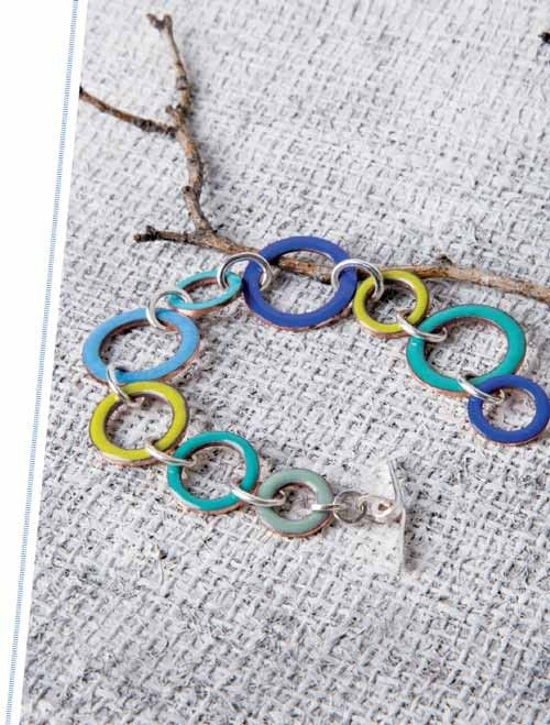 Copper Washers Bracelet; Jeweler's Enamel Workshop: Techniques and Projects for Making Enameled Jewelry; Pauline Warg InterweaveStore.com