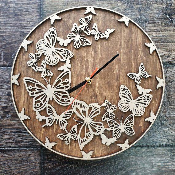 Butterfly Butterflies Art Wall Clock Ornament Decor Butterflies