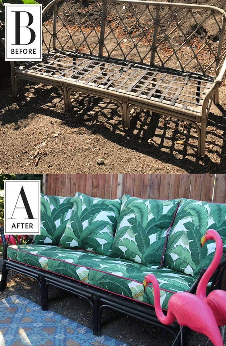 Before & After: A Sofa Found on the Street Gets a DIY Makeover | With a good sanding and coat of outdoor durable paint, and project can live outside for the perfect patio setup. Recovering cushions in your favorite fabric is another way to makeover furniture on a budget.