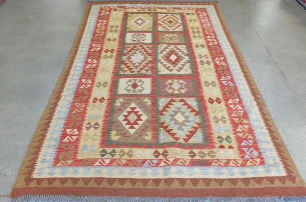 Afghan Wool Bright Choubi Kilim Rug Size: 153 x 252cm, Hand Spun Wool-Flat Weave, Both sides of Choubi kilim are alike, It comes with a certificate of authenticity.