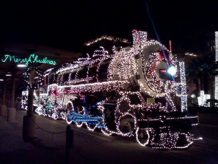 christmas train train covered in christmas lights - Christmas Light Train