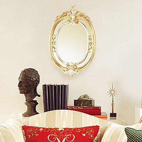 イタリア製★アンティーク調 壁掛けミラー シルバー&ゴールド