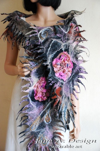 NUNO FELTED,SILK & WOOL, 3D, LAYERED, SCARF, WEARABLE ART