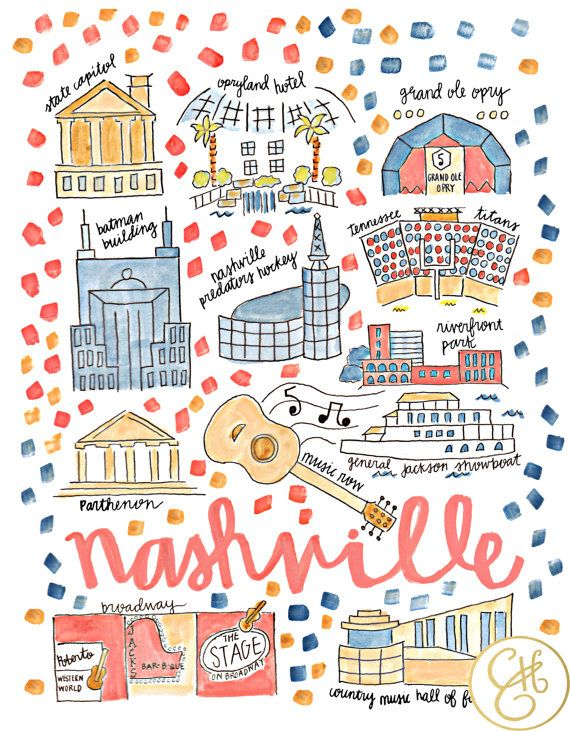 Nashville Map Print by EvelynHenson on Etsy - Cut out the streets, just the highlights of the city