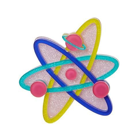 """Erstwilder Limited Edition Up and Atom Brooch. """"Apparently, there are 100 billion galaxies in the universe and roughly 100 billion billion atoms in a single drop of water. Mind. Blown."""""""