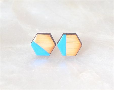 Santorini Hexagon Bamboo Earring Studs | Zuri. | madeit.com.au