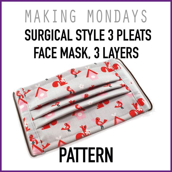 Surgical Style 3 Pleats Face Mask 3 Layers Pattern In 2020 Face Mask Tutorial Easy Face Masks Diy Mask
