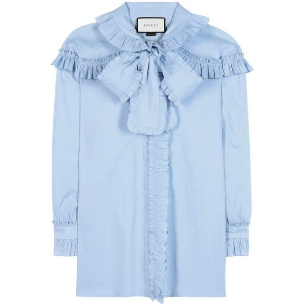 Gucci Ruffled Cotton Blouse (19.360 ARS) ❤ liked on Polyvore featuring tops, blouses, blue, ruffle blouses, gucci tops, gucci, frill top and frilly tops