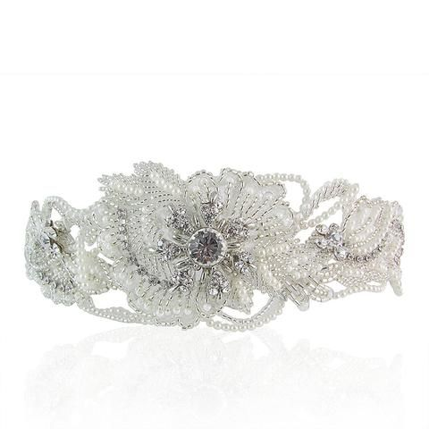 Lilly Crystal & Pearl Half-Moon Shaped Hair Comb