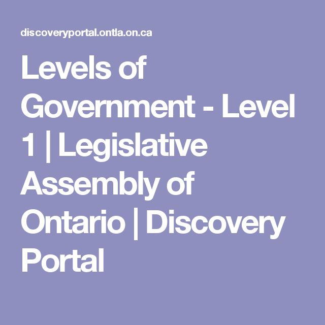 Levels of Government - Level 1 | Legislative Assembly of Ontario | Discovery Portal