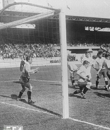 Uruguay 4 Germany 1 in 1928 in Amsterdam. Uruguay defend early on but Germany couldn't score and failed to make a good start in the Olympic Games, group stage.