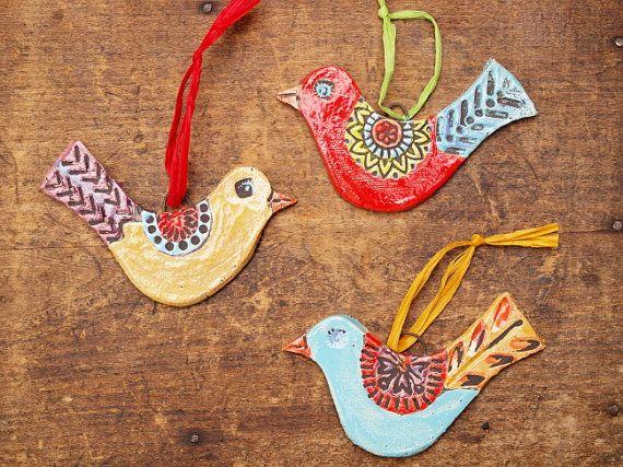Tweet Ornaments Set of Three  Textured Clay Bird by romyandclare, $49.00