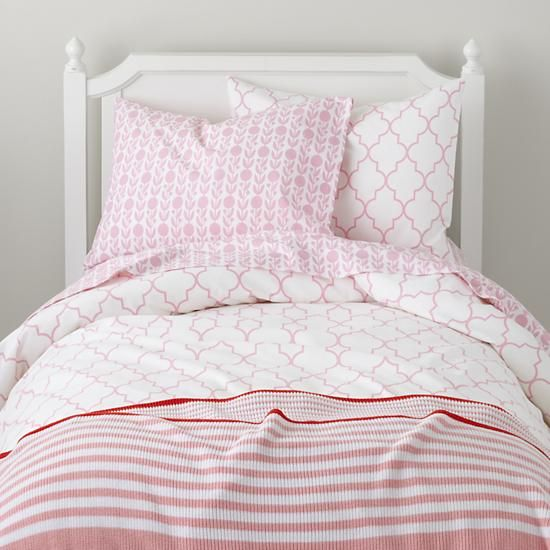 the land of nod girls bedding pink striped bedding set in girl bedding girls bedroom. Black Bedroom Furniture Sets. Home Design Ideas