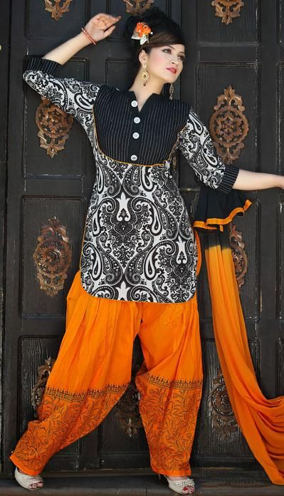 $70 Black and Yellow Thread Work Punjabi Style Salwar Kameez 25604