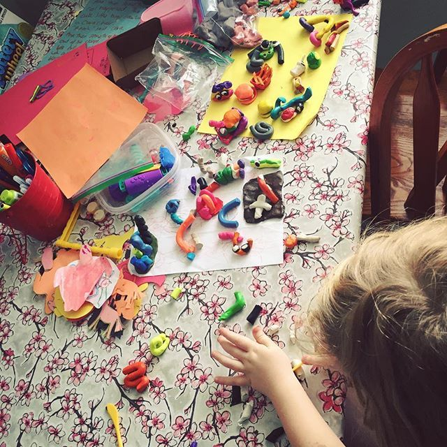 There's been lots of plasticine play this week. Java (from the Muppets), Kirby characters, vegetables, McDonald's meals, animals, lots of alien people. Clara's currently rolling stripes to add to her zebra. It's nice having a table again where their craft and art things can be rotated and their creations left for a while and added to when they're ready. #homeed #unschooling #kidsplay #kidsart #wildandfreechildren #lovehomeed #100daysofhomeed #childhoodunplugged #magicofchildhood 23/100