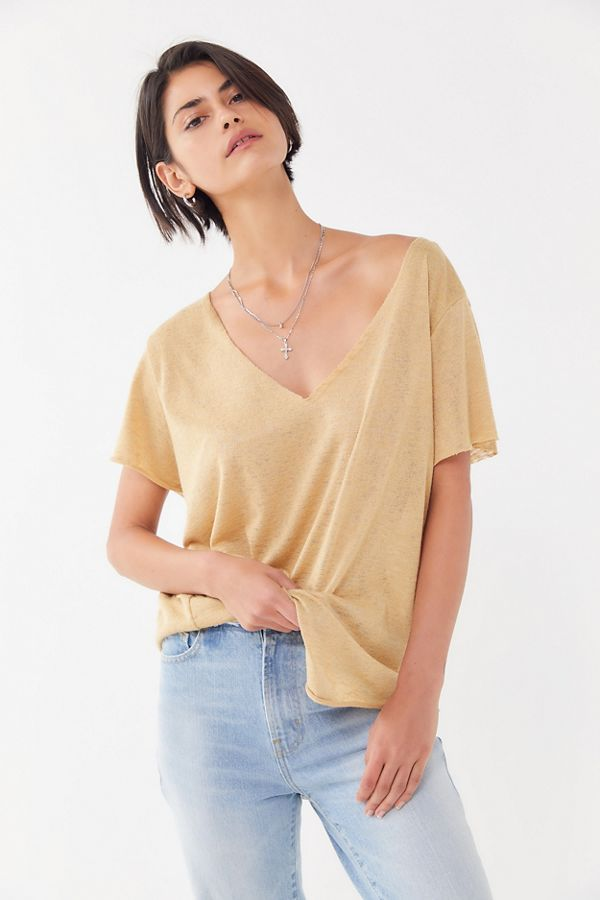 Project Social T Textured Knit V Neck Tee Textured Knit Womens Tops V Neck Tee