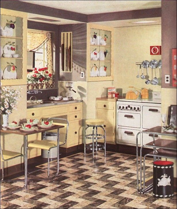Kitchen Appliances: Country Retro Small Kitchen Design With ...