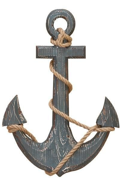 nautical decor anchors   Wood Ship Anchor With Rope Nautical Decor P.S. if you are looking for ...