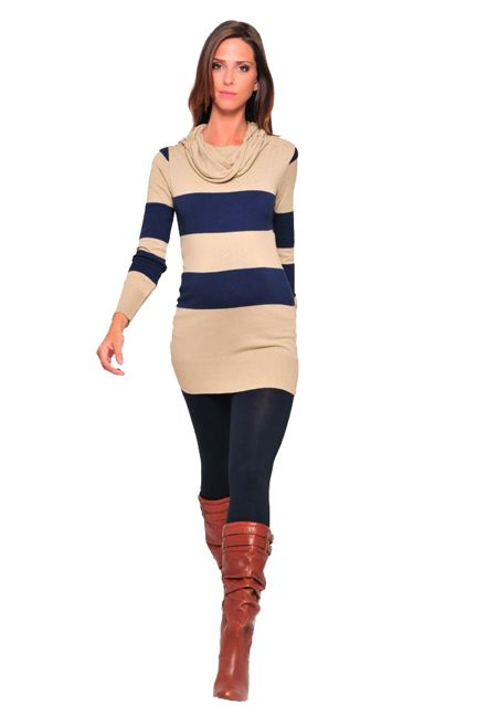 Olian Rugby Stripe Tunic Cowl Neck Maternity Sweater | Maternity Clothes  Available at Due Maternity www.duematernity.com
