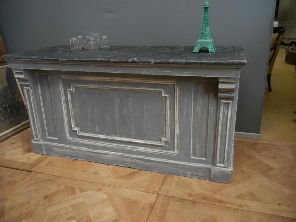 Antique French Blue Painted Shop Counter – Love the way the posts work with the molding.