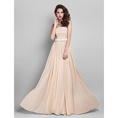 Free Measurements ! Sheath/Column Strapless Floor-length Georgette Bridesmaid Dress (910061) – USD $ 72.99