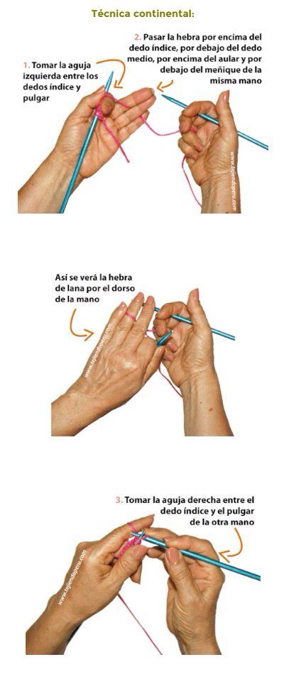Técnica o estilo continental o alemán, dos agujas (c3)