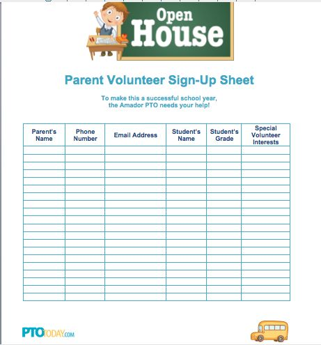 Sign up sheet for open house from pto today back to for Back to school sign in sheet template