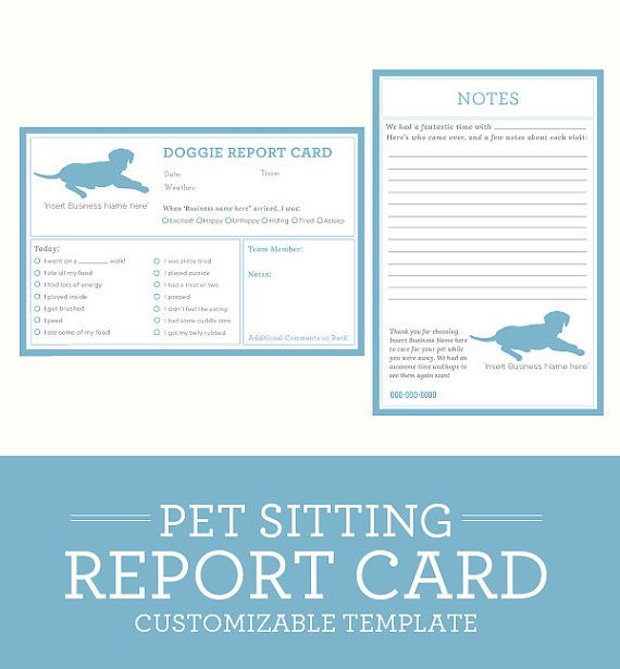 Simple Clean Clic Dog Pet Sitting Report Card Customizable Specs Available In 6 X 4 Format File Only Printing Not