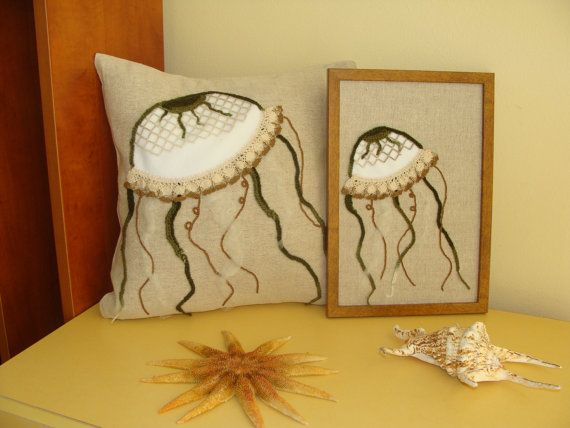 Unique Jellyfish Pillow Cover and Jellyfish Tableau, Set, Decorative Pillow, Nautical Throw Pillow Cover, Exclusive Handmade, Sea Life Decor