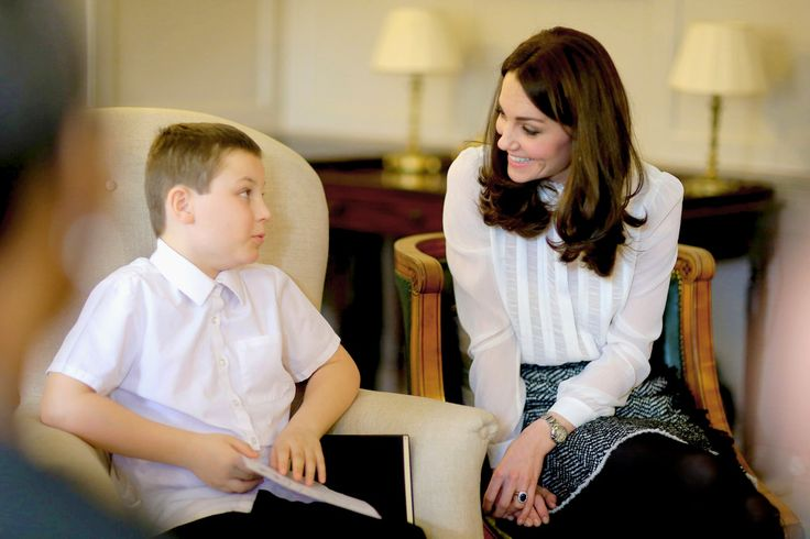 Catherine, Duchess of Cambridge smiles as she chats to Hayden Pearce from the 'Real Truth' video blog that features on the Huffington Post website at Kensington Palace on February 17, 2016 in London,...