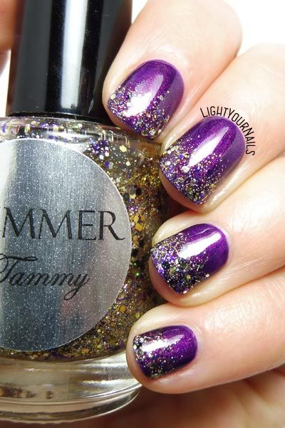 Purple and glitters gradient nail art #nailart #unghie #glitters #gradient #lightyournails