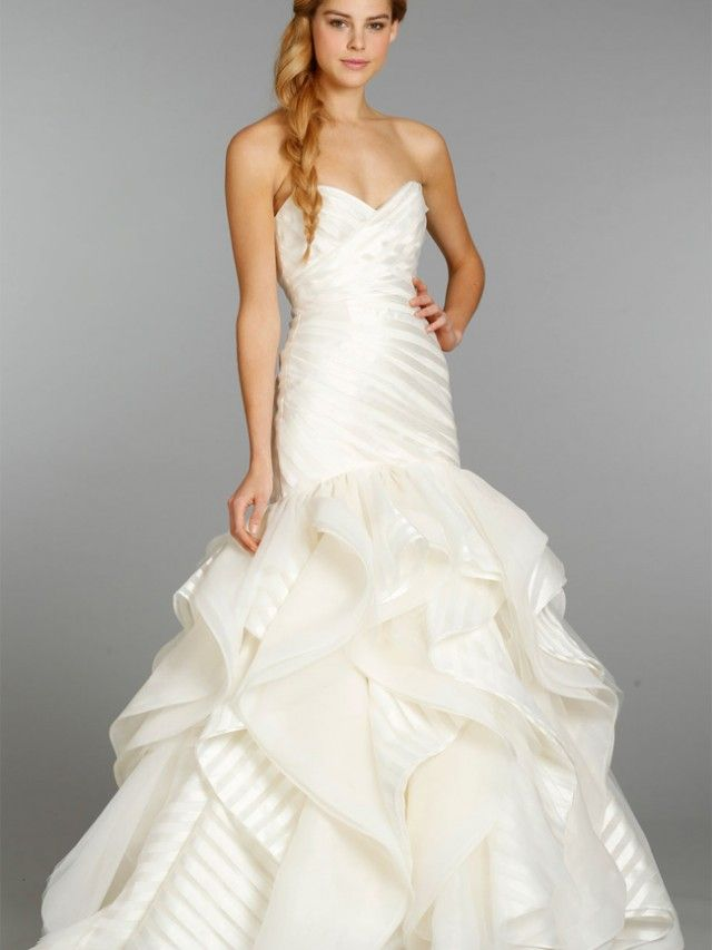 Mermaid wedding dress with striped ruffles wedding for Wedding dress with stripes