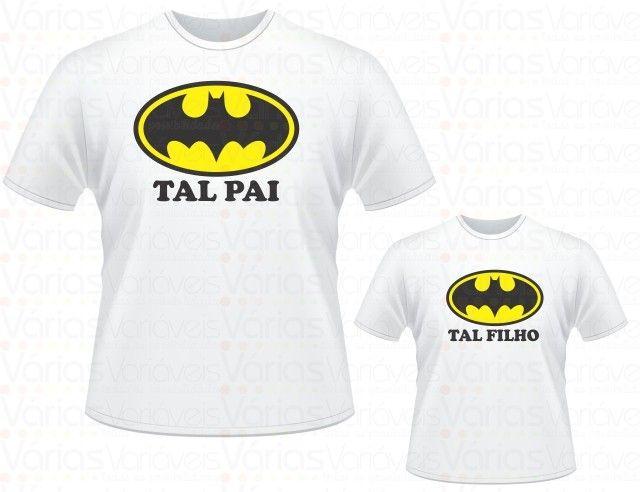 Kit Camiseta Batmam Tal pai, tal filho. (01 camiseta adulto, 01 camiseta infantil - R$59,00)