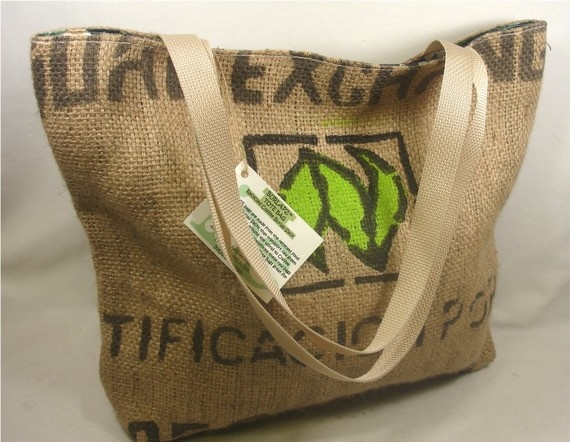 Green Wedding Gift:  Recycled Coffee Burlap Beach Bag