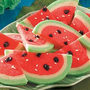 Watermelon Cookies:  This simple recipe creates the perfect picnic cookie.
