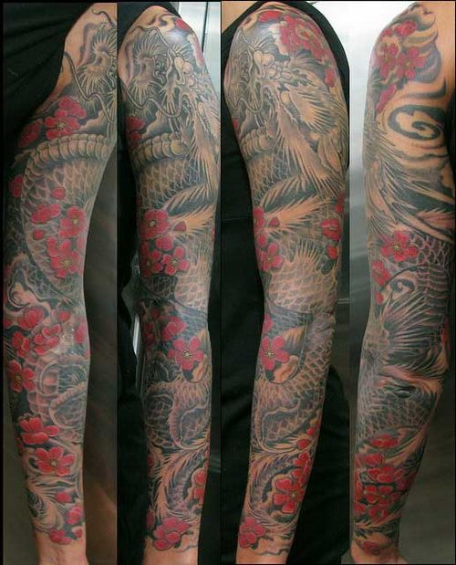japanese sleeve | Dragon Japanese Sleeve Tattoos