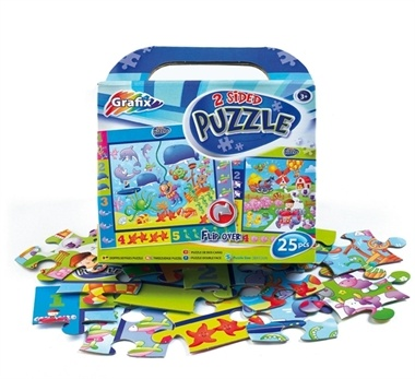 25-piece double-sided puzzle. Stimulates problem solving, imaginative play, counting, writing and hand/eye co-ordination.