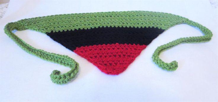Pan Africa Kerchief, Red Black and Green Bandana, Africa Crochet Du-rag, Crochet Head Scarf, Tie on Kerchief, Crochet Kerchief by TiStephani on Etsy