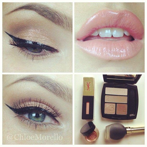 Basic eyes: avon mocha latte palette, inglot 68 body sparkle, guerlain liquid eyeliner, ysl 27 glossy stain, houseoflashes temptress lashes @chloemorello-
