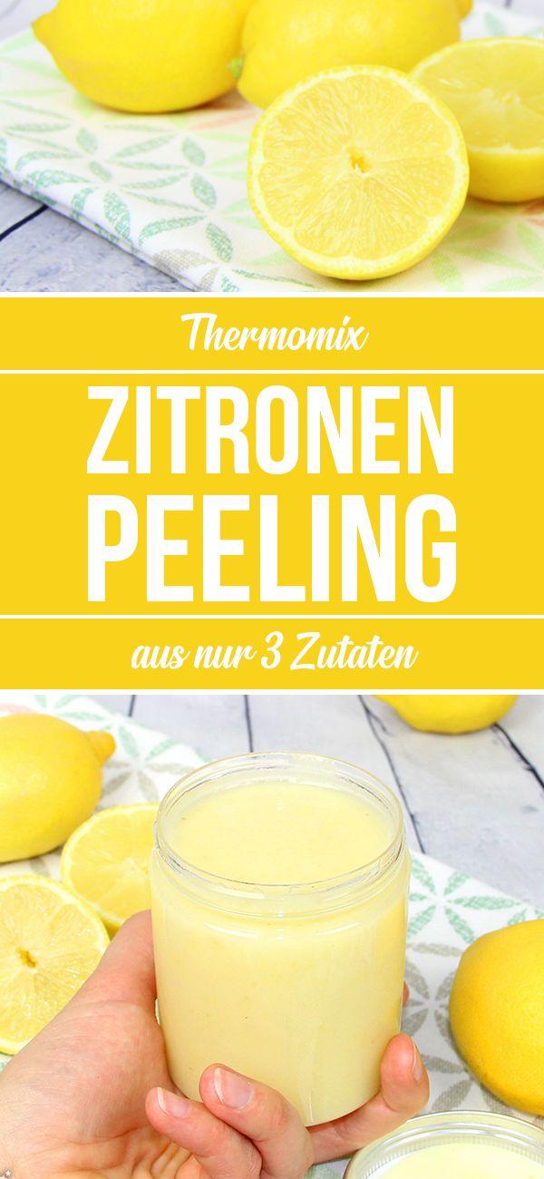 Zitronen Body Peeling mit Meersalz. Nur 3 Zutaten. Pflegeprodukt zum selber machen im Thermomix.