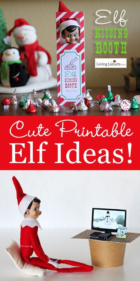 When you can't think of anything else to do with your Christmas Elf, click here for cute printables! Get your elf off of the shelf with these unique ideas for kids this holiday season. Love the kissing booth and tiny XBox!