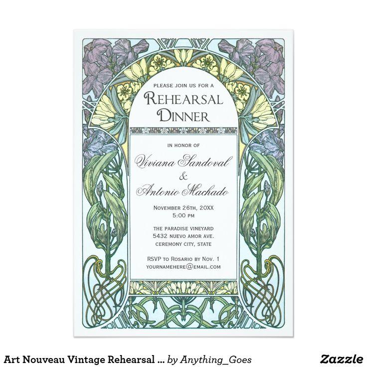 Art Nouveau Vintage Rehearsal Dinner Invitations