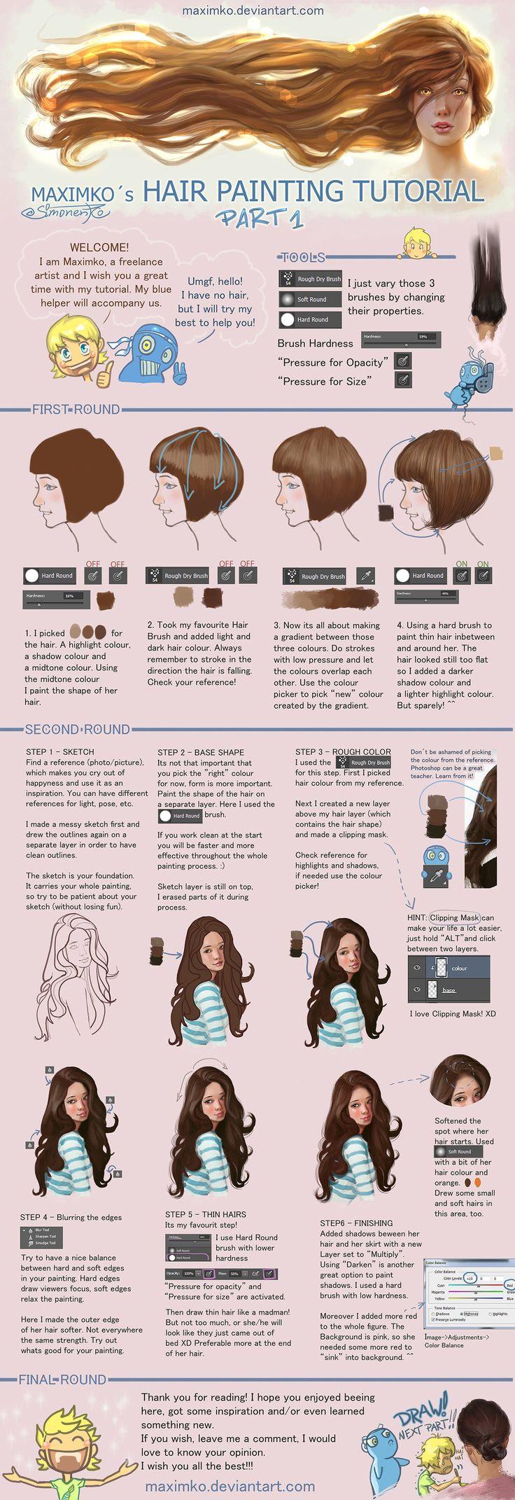 Hair Tutorial - Part 1 by Maximko.deviantart.com on @DeviantArt