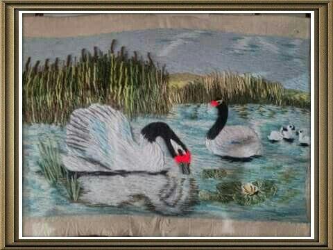 Pintura Crewel realizado por Cynthia Quezada M. Una seguidora de mi página Atelier Elisa
