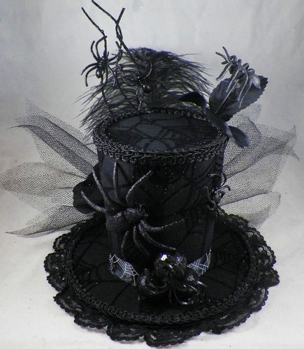 BLACK WIDOW Mini Top Hat Halloween Gothic Pageant Costume Tea Party Burlesque | eBay