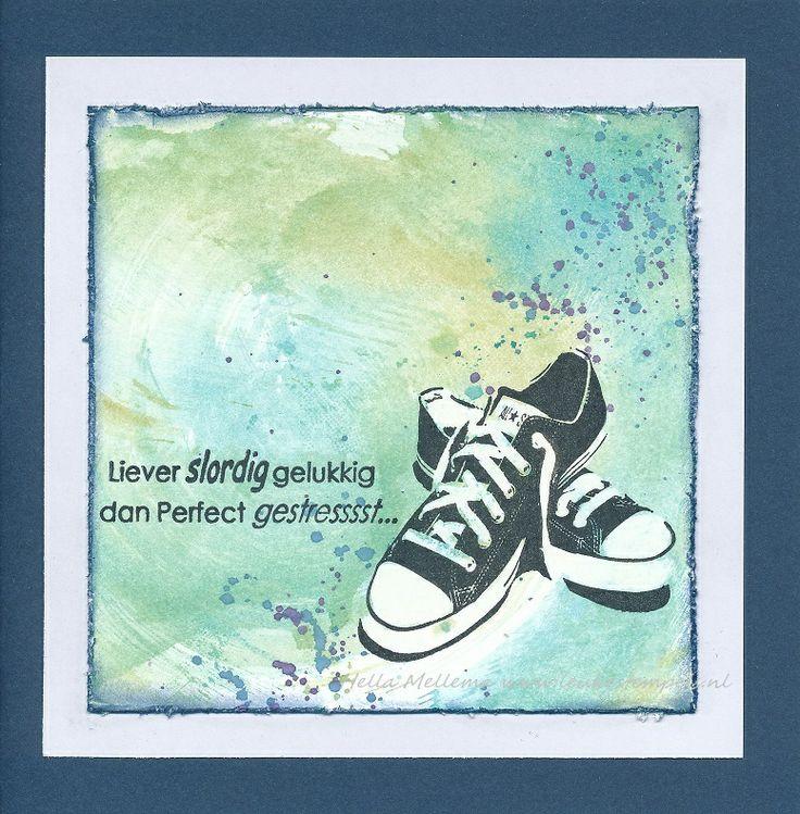 Distressinkt, sneakers en tekst Leuke Stempels