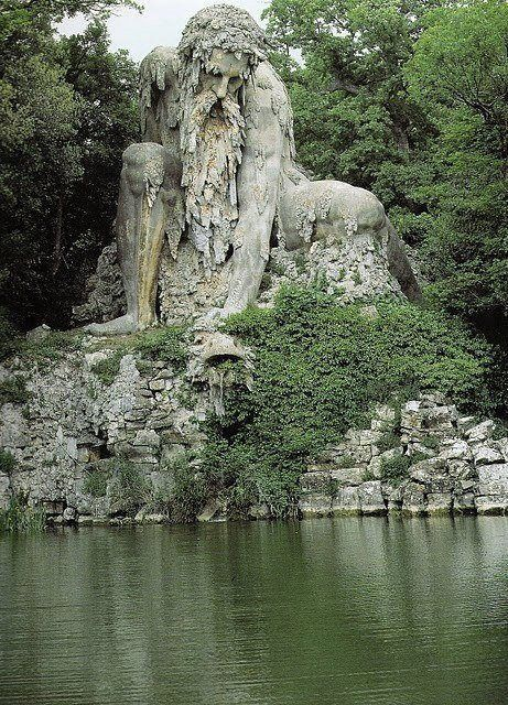 Shrouded within the park of Francesco I de' Medici's Villa Demidoff (just north of Florence, Italy), sits the 16th century Giambologna sculpture the Appennine Colossus.  It recalls the figure of Atlas in Virgil's Aeneid and once stood amidst other bronze statues, but this massive brick and stone structure withstood centuries in the same spot, managing to maintain its figurative composition in all that time.