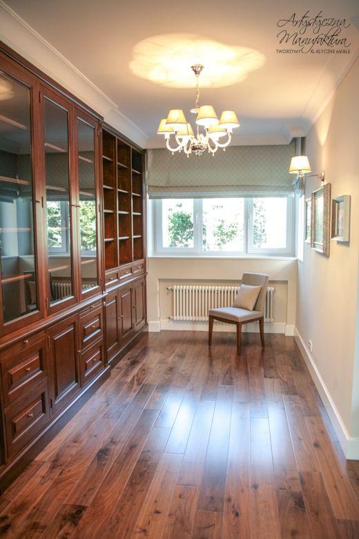 zabudowa biblioteczna, built in bookshelves, fitted bookcases, home office, library, custom wooden furniture  - wykonanie Artystyczna Manufaktura