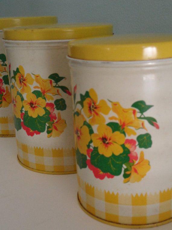 vintage yellow kitchen canisters set of three by silverylane etsy